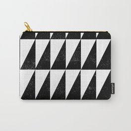 Minimal linocut black and white geometric pattern basic triangles diamond stripes Carry-All Pouch