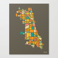chicago Canvas Prints featuring CHICAGO by Jazzberry Blue