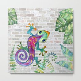 Tropical Gecko Metal Print
