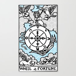 Geometric Tarot Print - Wheel of Fortune Canvas Print