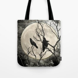 Black White Crows Birds Tree Moon Landscape Home Decor Matted Picture Print A268 Tote Bag