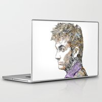 david tennant Laptop & iPad Skins featuring David Tennant Dr. Who Text portrait by Mike Clements