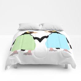 Gay Pride Penguins Holding Hands Comforters