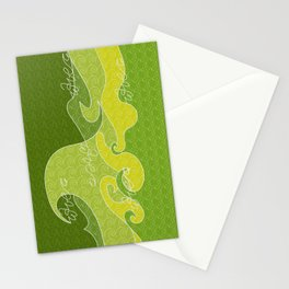 Waves V green colors V iphone Stationery Cards