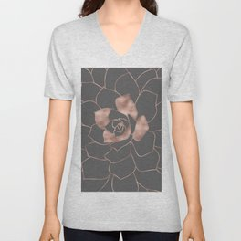 Rosegold  blossom on grey - Pink metal - effect flower Unisex V-Neck