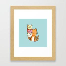 Kawaii Cute Cat and Micecream Framed Art Print