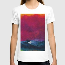 Sea with Stormy Red Sky nautical landscape painting by Emil Nolde T-shirt