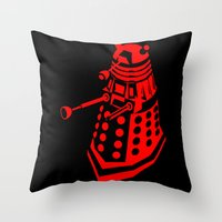 dalek Throw Pillows featuring Dalek by InvaderDig
