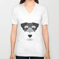 schnauzer V-neck T-shirts featuring Miniature Schnauzer  by Three Black Dots