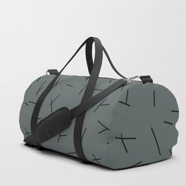 Abstract criss cross stripes irregular minimal lines stone blue Duffle Bag