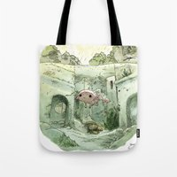 bouletcorp Tote Bags featuring Axolotl by Bouletcorp