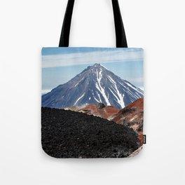 Panoramic volcanic landscape - crater active Avacha Volcano in Kamchatka Peninsula Tote Bag