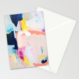 """passions 2"" abstract art in navy, blush, teal, white, and yellow Stationery Cards"