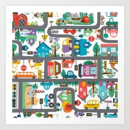 Cute Town Road Map  Art Print