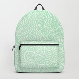 Green Mandala Design Extra Detailed Geometric Ethnic Tribal Pattern Backpack