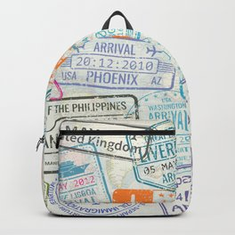 Vintage World Map with Passport Stamps Backpack