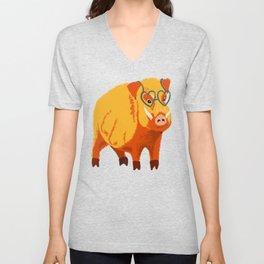 Benevolent Funny Boar Pig Unisex V-Neck