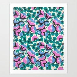 Vintage Floral Fabric Design by Paul Poiret, 1920s Art Print