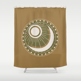 Moonlit Love - Mid Century Modern Gold Shower Curtain