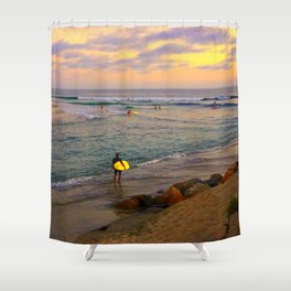 Surfer, Sunset, Cardiff, CA Shower Curtain