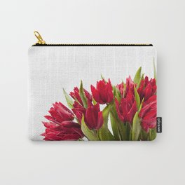 Water sprinkled cut red tulips Carry-All Pouch