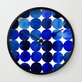 Blue Circles in Watercolor Wall Clock