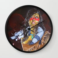 pocahontas Wall Clocks featuring pocahontas by marmaseo
