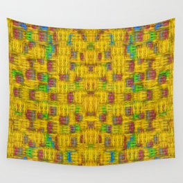 Rainbow stars in the golden sky scape Wall Tapestry