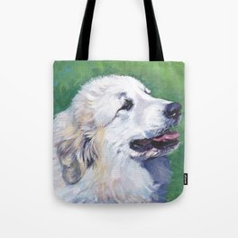 Great Pyrenees dog portrait art from an original painting by L.A.Shepard Tote Bag