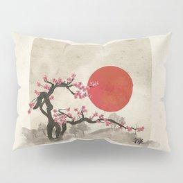 Sakura Blossom Landscape Zen hieroglyph Pillow Sham