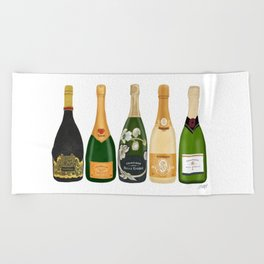 Champagne Bottles Beach Towel