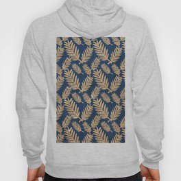 Modern navy blue faux gold glitter tropical floral Hoody