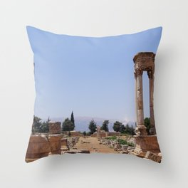 Ruins - Pillars & Mountains  Throw Pillow