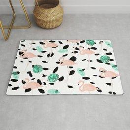 Tropical pink flamingo green watercolor leaf black polka dots llustration pattern Rug