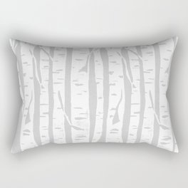 Woodcut Birches Grey Rectangular Pillow