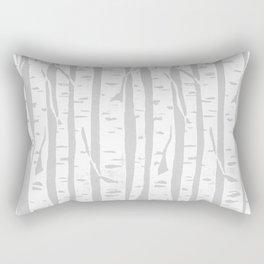 Woodcut Birches Grey Rectangular Pillow