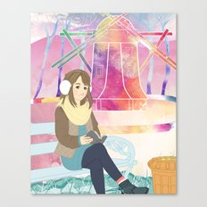 Windmill reading girl Canvas Print