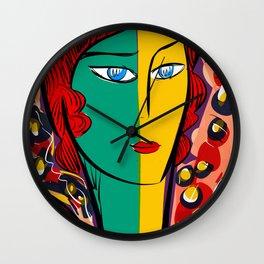 Green Yellow Pop Girl Portrait French Art Illustration Wall Clock