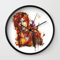 lara croft Wall Clocks featuring Lara Croft by ururuty