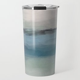 Abstract Painting, Light Blue, Teal, Sage Green Prints Modern Wall Art, Affordable Stylish Travel Mug
