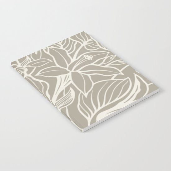 Floral Alabaster Blue Gray Notebook