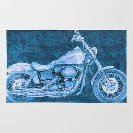 Harley Dyna Street Bob 2017 BLUE on stone Rug