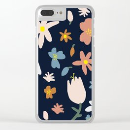 Blooming in the Navy (Handmade Floral Pattern) Clear iPhone Case