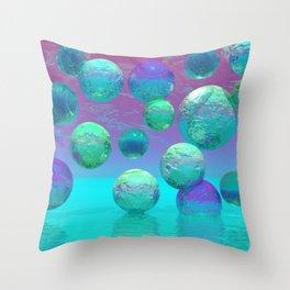 Ocean Dreams - Aqua and Indigo Ocean Universe Throw Pillow