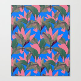 Retro Luxe Lilies Electric Blue Pattern Canvas Print