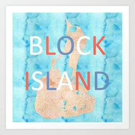 Block Island Watercolor Map Art Art Print