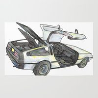 delorean Area & Throw Rugs featuring DMC - Delorean by dareba
