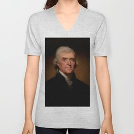 Official Presidential portrait of Thomas Jefferson Unisex V-Neck