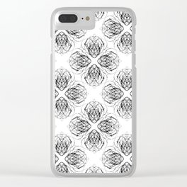 Black and White Doodle Flower Drawing Clear iPhone Case