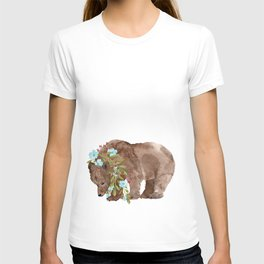 Bear with flower boa T-shirt